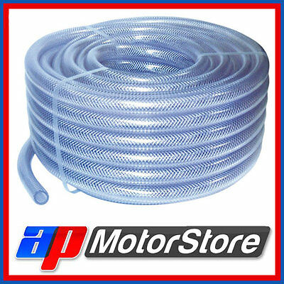 Pvc Braided Hose Pipe Clear Water Air Oil Fuel Tubing Heavy Duty - Select Size