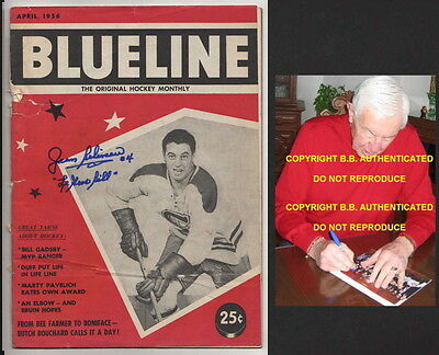 Jean Beliveau Signed Montreal Canadiens 1956 Blueline Hockey Magazine With Proof