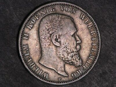 GERMANY-WURTTEMBERG 1908F 5 Mark Silver Crown. h145