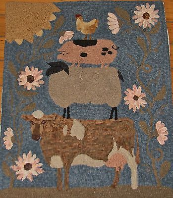 Primitive Hooked Rug Pattern On Monks ~ Farm Friends Large