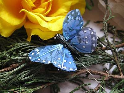 Small Blue Feather Butterfly - Speckled Design - 4.0cm - Set of 2