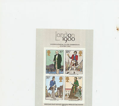 London 1980 International Stamp Exhibition  England  4 Stamp Miniature Sheet