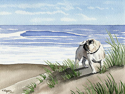 PUG AT THE BEACH Painting Dog 8 x 10 ART Print Signed by Artist DJR