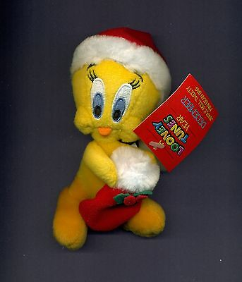 Santa Tweety bean bag plush doll Looney Tunes Warner Stores new with tags SEE