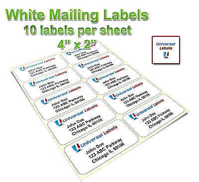 """2500 - 4""""x2"""" shipping labels - 10 labels per sheet- same size as 5163 template"""