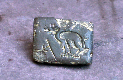 Interesting Indus valley large seal with animal and warrior axe 3th millenium BC
