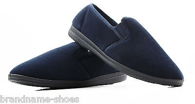 New Mens Grosby Percy Comfortable Navy Slippers Moccasins Men's Night Shoes