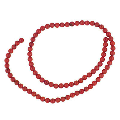 """Red Sea Bamboo Coral  5Mm Round Beads  15""""     Aa+"""