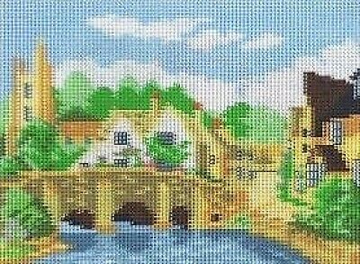 English Village Bridge (Thatched Cottages) Tapestry  Needlepoint Canvas