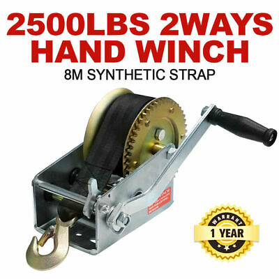 2500LBS Hand Winch 2-Speed Synthetic Strap Manual Car Boat Trailer 4WD 2500LB