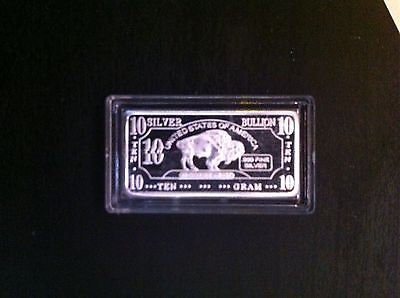 10 Gram 99.99 Pure Silver Bullion Bison Bar (Solid Silver)