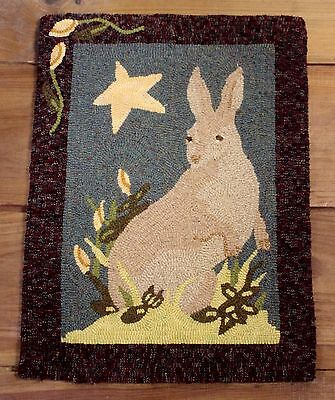"Primitive Hooked Rug Pattern On Monks ""bunny Beauty"""