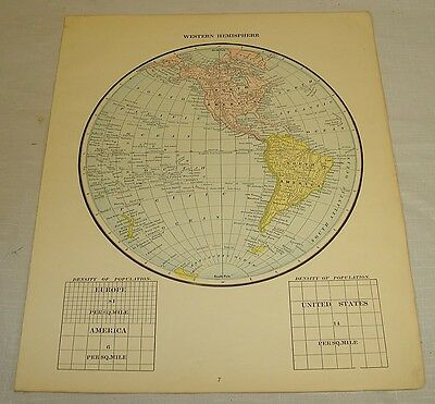 1889 Antique MAP of WESTERN HEMISPHERE/Hand Colored