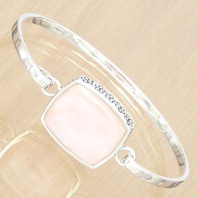 Sterling Silver Bangle With Pink Mother Of Pearl And Daisy Pattern .925 Hallmark