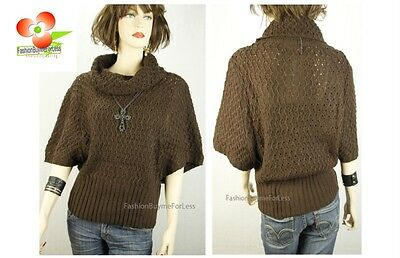 Mingle Italian Brown Wool Yarn Crochet Knitted Draped Collar Sweater Top M L