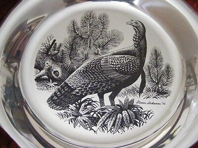 1973 Sterling Franklin Mint Thanksgiving Plate Wild Turkey Limited Edition