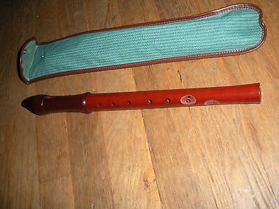Vintage Wood Recorder W Holder Made In West Germany International Sale
