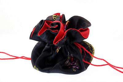 Ed Hardy Black Silk Jewelry Gift Pouch Bag