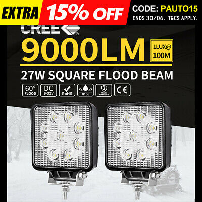2Pcs 27W Cree Led Work Light Bar Driving Offroad Flood Lamp 4Wd Reverse Truck