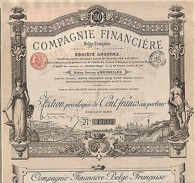 BELGIUM FRENCH FINANCE CO stock certificate 1899