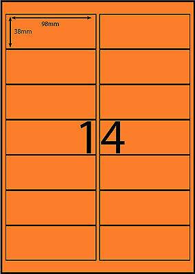 A4 Labels Avery Compatible 100 sheets-FLUORO ORANGE-14 labels page **DL RANGE