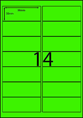 A4 Labels Avery Compatible 100 sheets-FLUORO GREEN-14 labels page **DL RANGE