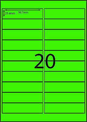 A4 Labels Avery Compatible 100 sheets-FLUORO GREEN-20 labels page **DL RANGE