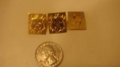 3 VINTAGE GOLD PLATED  FLUER DI LIS MILITARY PINS  NEW OLD STOCK