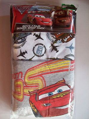 Cars Underwear Boys 2 Pair Boxer Briefs Disney Pixar Size 4 6 8 Team 95 Gray NIP