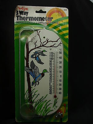 ARTLINE Wall or Window FLYING DUCK Sign Thermometer w/ Suction Cups - FREE SHIP
