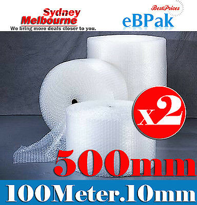 Pickup Only : 2 x 500mm x 100M Bubble Cushioning Wrap Roll P10 Clear