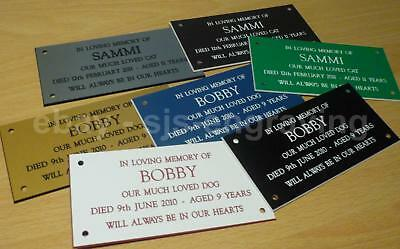 "Quality Engraved Pet Memorial Plaque - 4"" x 2"" - Various Colours Choice of Text"