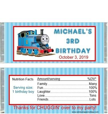 Thomas the Tank Engine Train Personalized Birthday Candy Bar Wrappers Favors