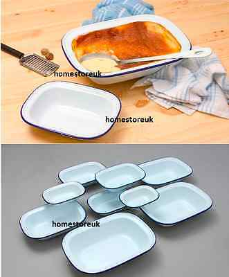 Falcon Enamel Pie Dish Steak Pudding Ashet Bake Baking Oblong Oven White Tin