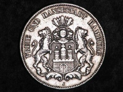 GERMANY-HAMBURG 1908J 5 Mark Silver Crown #X227