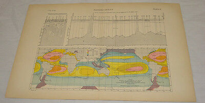 1891 Antique Map, Chart/PACIFIC OCEAN & CHARTS/Hand-Colored