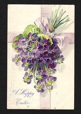 Tuck's A Happy Easter Postcard cross flowers 1908