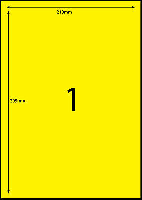 A4 Labels Avery Compatible 100 sheets-FLUORO YELLOW-1 label page **DL RANGE