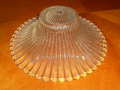 C. 30's Art Deco Ceiling light fixture Glass lamp Ribbed shade Chandelier 3 Hole