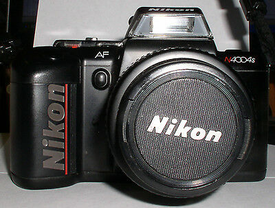 1991 NIKON 35MM FILM CAMERA N4004S AF STRAP ROKUNAR FLASH AFN800 MANUAL