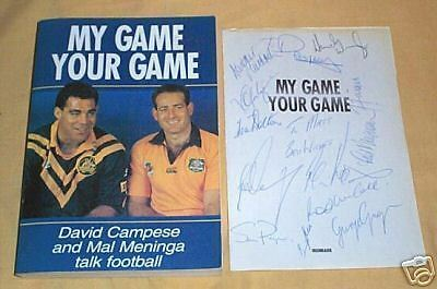 Rugby Union & League Autographed Book, David Campese & Mal Meninga