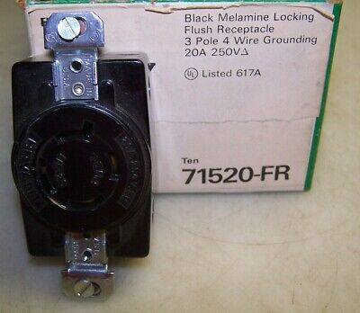 5) New Bryant 71520-Fr Black Flush Receptacle 3 Pole 4 Wire 20 A 250V Lot Of 5