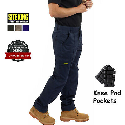 Mens Combat Cargo Work Trousers By SITE KING Size 28 to 52 KNEE PAD POCKETS - 04