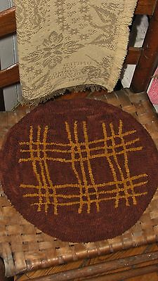 "Primitive Hooked Rug Pattern On Linen ""redware Chair Pads: Pad #2"""