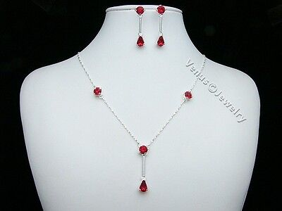 Red Bridal Wedding Prom Rhinestone Crystal Necklace Earrings set 2248