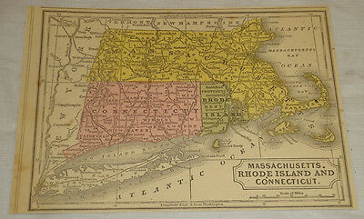 1850 COLOR MAP of MA, RI, CT///Mitchell