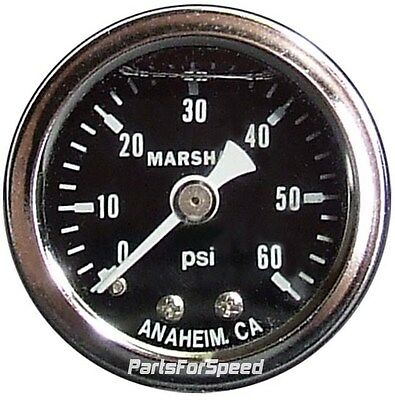Liquid Filled Fuel Pressure Gauge 0-60 PSI Black 1/8NPT