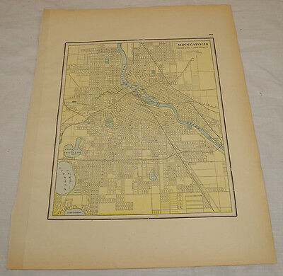 1903 COLOR MAP of MINNEAPOLIS, MN
