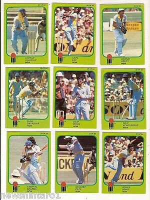 #d206. Scanlens 1981-82 World Series Cricket  Cards - India