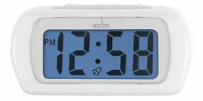 ACCTIM AURIC WHITE BATTERY ALARM CLOCK with BLUE LCD DISPLAY